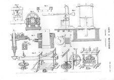 Stampa antica TORCHIO STRETTOIO PRESSA attrezzature meccaniche 1848 Old print