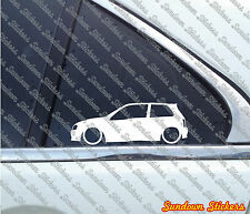 2x Lowered car outline stickers - for Toyota Glanza V /  starlet GT Turbo 90