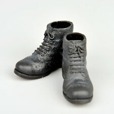 "1/6Scale WWII Men Doll Custom Black Short Boot Leather Shoes F 12"" Action Figure"