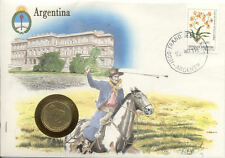 superbe enveloppe ARGENTINE ARGENTINA  pièce monnaie 5 CTS 1986 UNC NEW timbre