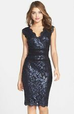 Tadashi Shoji Black Embellished Metallic Lace Sheath Dress - Size 4 NWT $338