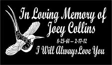 In Loving Memory Car Decal Hummingbird custom sticker personalized graphic