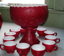 VINTAGE WESTMORELAND THREE FRUITS RED MIST CASED MILK GLASS 14 PC. PUNCH SET