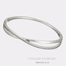 "Authentic Pandora Sterling Silver Entwined Clear CZ Bangle 7.5"" 590533CZ-3"