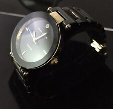 Ladies Genuine Anne Klein Ceramic Gold Diamond Black Designer Dress Watch