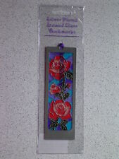 Red Roses@BOOKMARK@Stained Glass~SILVER Plated@Unique gift@Reading reminder@ROSE