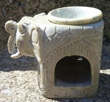 Hand Carved Soap Stone Jodhpuri Elephant Oil Wax Tart Burner Candle Warmer India
