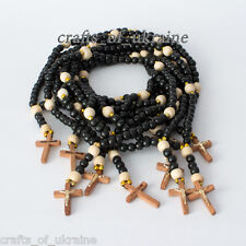 Lot of 10! Rosaries Handmade Prayer Rosary Religious Wooden Necklace Cross