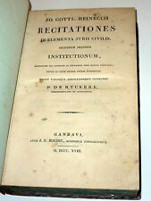 J. G. Heineccius: Recitationes in Elementa Juris Civilis (1818)
