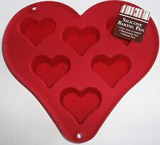 "Valentine Heart Shaped Silicone Baking Pan  Makes 2 1/2"" Cupcakes"