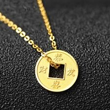 New Style Pure 999 24k Yellow Gold Pendant Lucky Carved 恭喜发财 Coin Pendant 1-1.5g