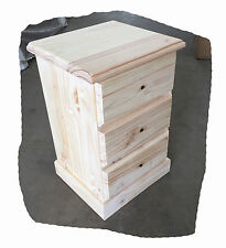 Cottage Raw 3 Drawer Timber Bedside Table - Australian Made - BRAND NEW