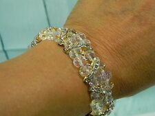 Handmade Bracelet Clear/Crystal Synthetic Beads Gold Tone/Diamond Metal Inserts