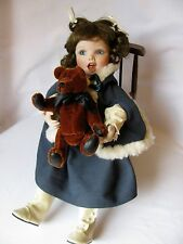 """Darling 12"""" Porcelain Doll Sitting In Wooden Rocking Chair With Teddy Bear"""