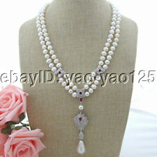 "H092508 21''-22"" 2 Strands White Pearl Necklace White Keshi Pearl CZ Pendant"