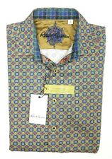 NEW ROBERT GRAHAM PURPLE GREEN FALKIRK WHEEL CELTIC PRINT DRESS SHIRT SIZE S