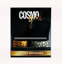 COSMO GIRL 2pc Set MINI BLUSH BRUSHES Animal Print+Silver Jewels BLING (Boxed)
