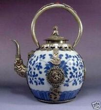 china Tibet Silver dragon Blue and White Porcelain teapot #14
