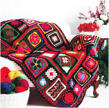 Crochet Pattern Afghan Throw Blanket Bold Mosiac