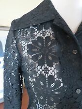vtg 70s top blouse sheer black lace floral big collar barrel cuffs xs 4