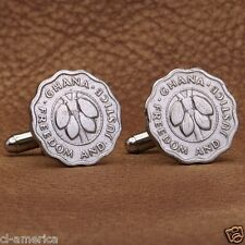 Ghana Coin Cufflinks, Vintage 1967 Freedom and Justice Cocoa Beans 2 1/2 Pesewas