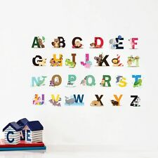 lovely animal alphabet wall stickers decal for baby bedroom nursery wall letters