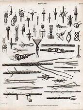 1816 impresión georgiano ~ ~ Nudos Cuerda náutica varios Aparejo Veleros