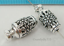 1x BALI STERLING SILVER VASE FOCAL FLOWER SPACER BEAD 17mm #2152