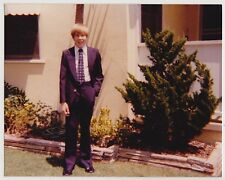 Vintage 70s PHOTO Young Preteen Early Teen BOY GUY In Suit & Tie
