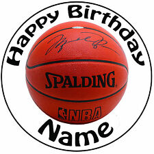 "Basketball Personalised Round Icing Cake Topper - Easy Pre-cut 8"" (20cm) Circle"