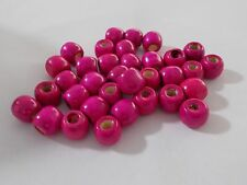 90pcs 12mm WOODEN Round Spacer Wood Beads -  HOT PINK ( Large Hole 5mm )