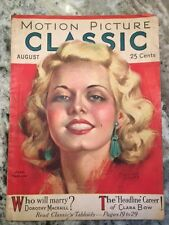 Original August 1931 Motion Picture Magazine Jean Harlow On Cover