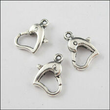 6 New Charms Tibetan Silver Tone Heart Connector Lobster Clasps 9x14mm