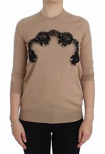 NWT $900 DOLCE & GABBANA Beige Wool Black Lace Sweater Pullover IT48 /US16 / XXL