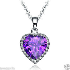 Mother's Day Gifts NEEMODA Purple Cubic Zirconia Heart Pendant Necklace Jewelry