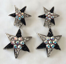 Butler and Wilson Black Clear Crystal Enamel Double Star Small Drop Earrings NEW