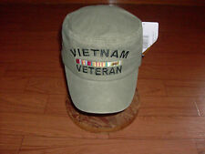 U.S MILITARY VIETNAM VETERAN HAT CAP BOX TYPE OD GREEN FLAT PILL TOP