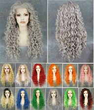 Front lace long wavy grey synthetic wig.red pink green orange blue golden green