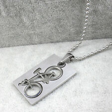 New Stylish Gentlemen Stainless Steel Bicycle Pendant Silver Necklace Chain
