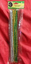 "45 Arts Crafts Chenille Stems Christmas Color 45 Pipe Cleaner 12"" Red Green Gold"