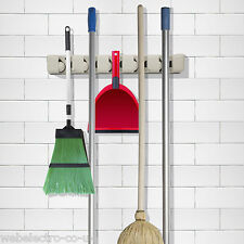 57150 Wall Storage Mounted Mop Broom Organiser Holder Kitchen Brush Hanger Rack