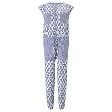 Somerset by Alice Temperley Rope Print Jumpsuit, White/Blue size 10