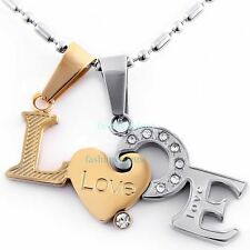 1 PAIR Stainless Steel Heart Message Love Pendant Couple's Necklace Gold&Silver