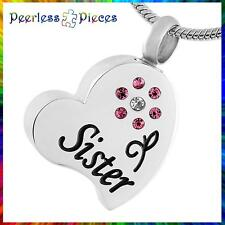 Cremation Urn Necklace Keepsake Jewelry Peerless Pieces Heart Flower Sister #110