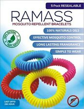 RAMASS All Natural Mosquito Repellent Bracelets - 5 Pack - Long Lasting