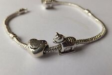 BABY GIRL SET SILVER 'ROCKING HORSE ' + 'Engraved IT'S A GIRL PINK HAND' CHARM