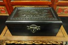 Solid Black Wood Storage Jewelry Box Chinese Motif Brass Accents