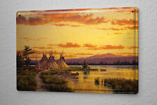 Nostalgic Tin Sign Western Style Tipis in the sunset 8X12