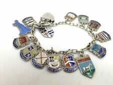 Vintage Sterling Silver Travel Charm Heart Lock Bracelet  with 14 Shield Charms