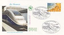 Enveloppe 1er Jour TRAIN PARIS 10/06/2001 vacances avec TGV PARIS-Méditerranée